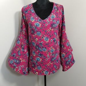 Pink Owl Pink Blue Floral Bell Sleeve Blouse S